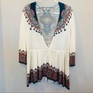 Anthropologie   Knitted & Knotted Boho Blouse